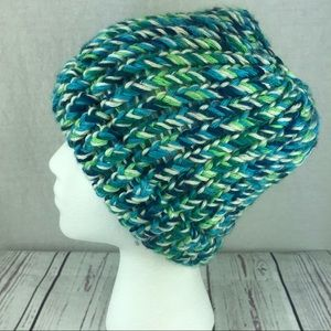 Accessories - Women's homemade knit blue green hat ponytail hole